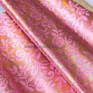 Кожа МРС с принтом, розовая, золотистая, 33 дм2.-240318