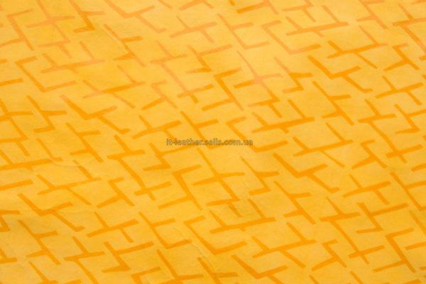 Кожа КРС с принтом, жёлтая, 71 дм2-602091