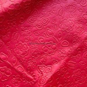 Кожа КРС с тиснением, красная, 297 дм2.-602064