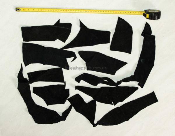 Обрезки натуральной замши, чёрные-160020