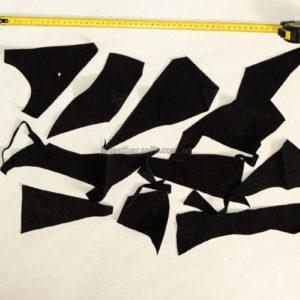 Обрезки натуральной замши, чёрные-160019
