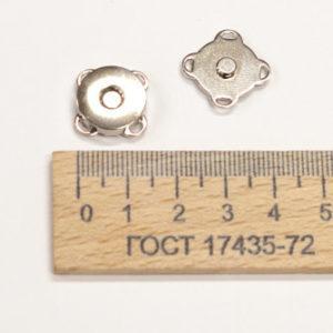 Магнит пришивной, никель, 14 мм-00182