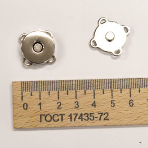 Магнит пришивной, никель, 18 мм-00183