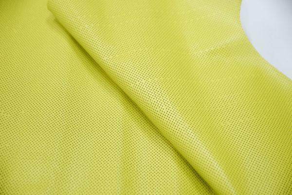 Кожа МРС с перфорацией, лимонная, 41 дм2.-101201