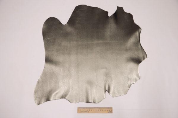 Кожа МРС, серо-зелёный металлик, 25 дм2.-104099