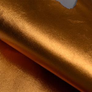 Кожа МРС, тыквенный металлик, 28 дм2.-104125