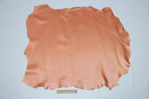 Кожа МРС с принтом, коралловый, 72 дм2.-105049