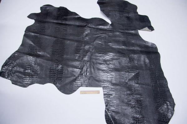Кожа КРС, с тиснением, чёрная, 124 дм2.- 501100