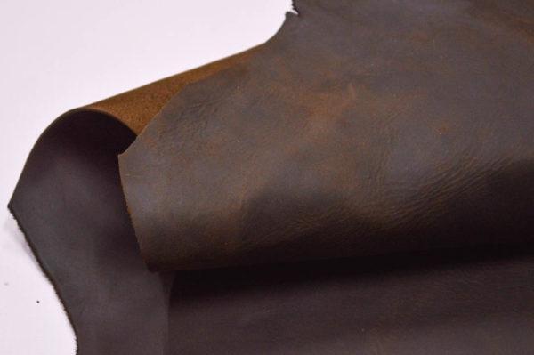 Кожа КРС крейзи хорс (Crazy Horse) с эффектом пул ап (Pull Up), тёмно-коричневая, 141 дм2.-501151