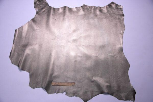 Кожа МРС с тиснением, серо-зелёный металлик, 58 дм2, Russo di Casandrino S.p.A.-107265