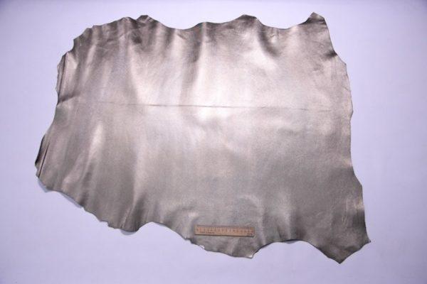 Кожа МРС с тиснением, серо-зелёный металлик, 61 дм2, Russo di Casandrino S.p.A.-107269