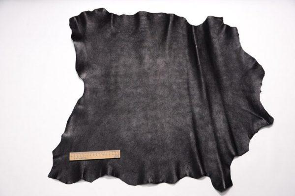Велюр МРС (коза), чёрный металлик, 34 дм2, Conceria Gaiera GIOVANNI S.p.A.-107318
