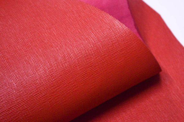 Кожа КРС, сафьяно (Saffiano), красная, 154 дм2.-901018