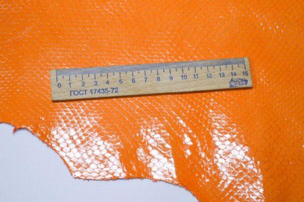 Кожа КРС с тиснением, оранжевая, 106 дм2.-901042