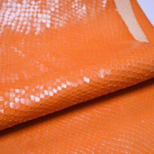 Кожа КРС с тиснением, оранжевая, 45 дм2.-901045