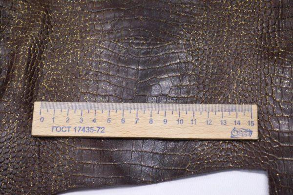 Кожа КРС с тиснением, тёмно-коричневая с золотым напылением, 43 дм2.-901052