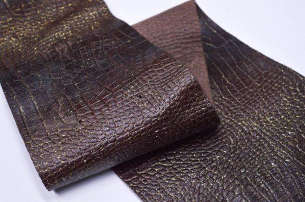 Кожа КРС с тиснением, тёмно-коричневая с золотым напылением, 25 дм2.-901053