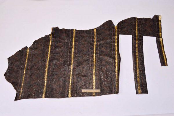 Кожа КРС с тиснением, тёмно-коричневая с золотом, 77 дм2.-901056
