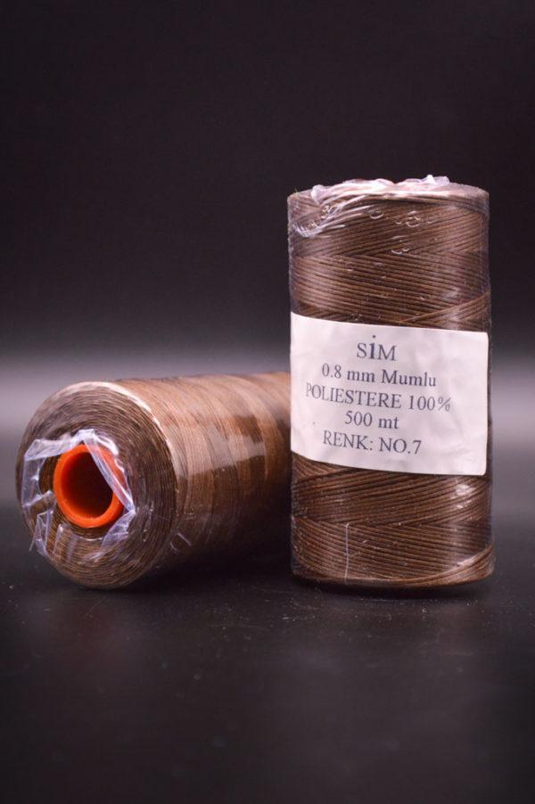 Нить вощенная 0,8 мм. Коричневая (SIM 7), 500 м.