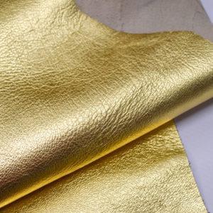 Кожа одёжная МРС, золотая-Pb-097