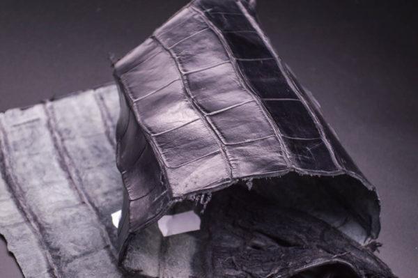 Кожа кроко, чёрная, 38х15 см.- kr1-31