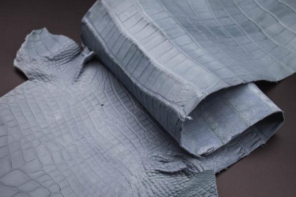 Кожа кроко, серо-голубая, 74х20 см.- kr1-39
