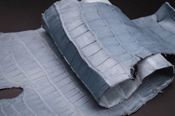 Кожа кроко, серо-голубая, 68х19 см.- kr1-41