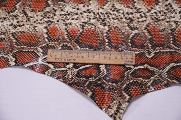 Кожа КРС с принтом и тиснением под змею, мультицвет, 96 дм2.-501191