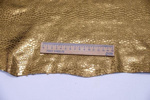 Кожа КРС с тиснением, золотая, 186 дм2.-501192