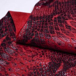 Спил КРС с принтом под змею, красная с чёрным, 87 дм2.-501193