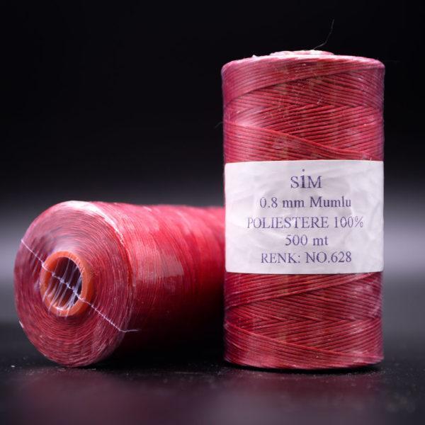 Нить вощенная 0,8 мм. Красная (SIM 628), 500 м.