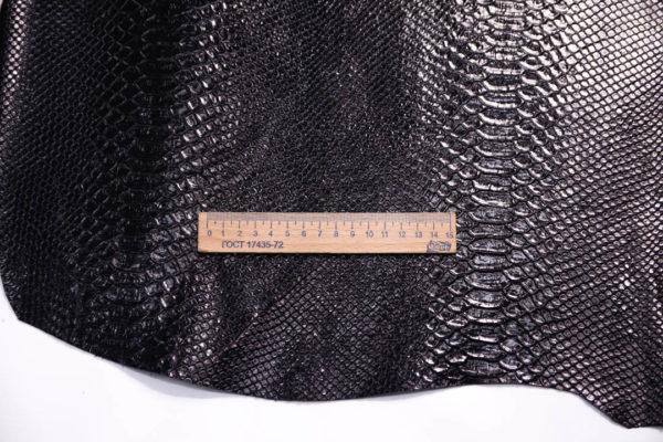 Кожа КРС с тиснением, тёмно-коричневая (почти чёрная), 73 дм2.-108424