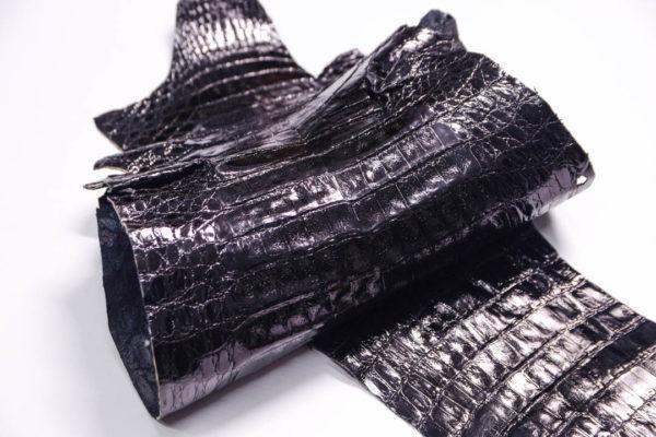 Кожа каймана, чёрная, 95х26 см.- kr2-4