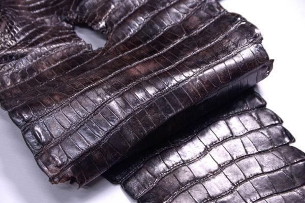 Кожа кроко, тёмно-коричневая мраморная, 85х26 см.- kr2-8