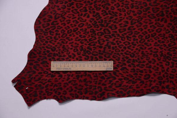 Велюр МРС, тёмно-красный леопард, 40 дм2.-108774