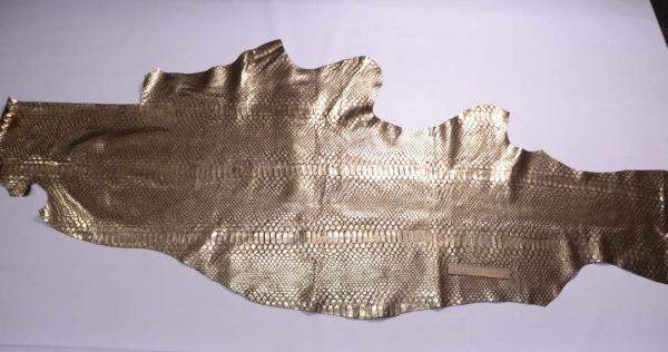 Кожа КРС с тиснением, коричневая с золотом, 95 дм2-108877