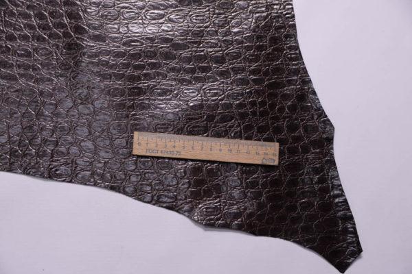 Кожа МРС с тиснением, тёмно-коричневая, 41 дм2-108879