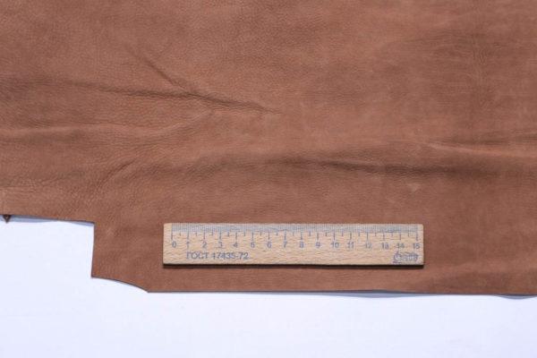 Нубук КРС (склизок), светло-коричневый, 22 дм2.-109098