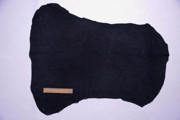 Кожподклад свиной (спилок), чёрный, 42 дм2.-401054