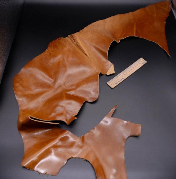 Кожа КРС, эффект пулап (Pull-Up), светло-коричневая, 14 дм2.-1-185