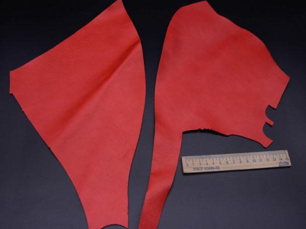 Кожа КРС, красная, 8 дм2.-1-217