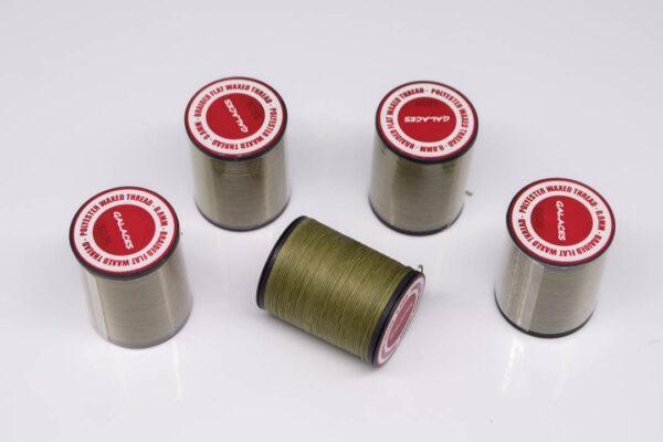 """Нить """"GALACES"""" вощеная плоская 0,8 мм. Оливковая-s026"""