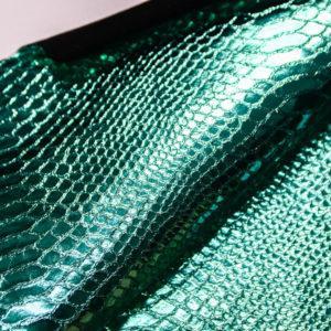 Велюр МРС с принтом и тиснением, бирюзовый металлик, 33 дм2.-109266