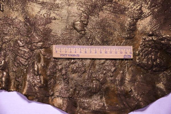 Кожа КРС (теленок) с принтом и тиснением, бронзовая, 53 дм2 -109298