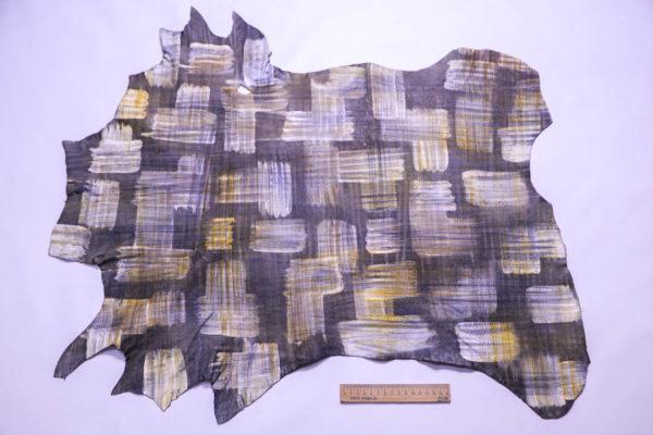 Кожа КРС (теленок) с принтом и тиснением, мультицвет, 36 дм2 -109299