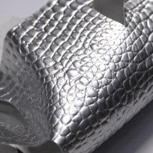 Кожа КРС с тиснением под кроко, серебро. -109387