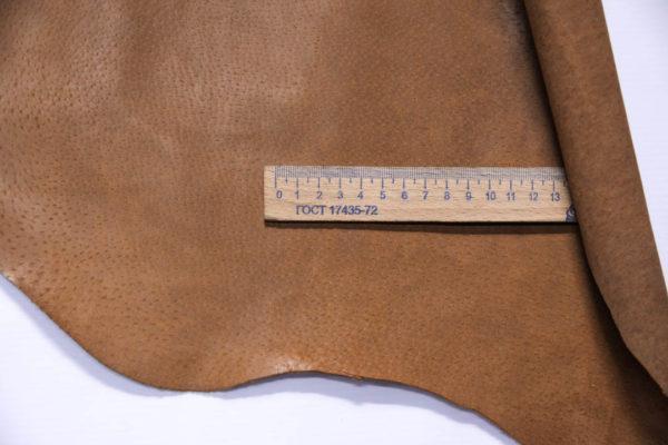 Кожподклад свиной (спилок) вощёный, светло-коричневый (нугат), 86 дм2.-401056