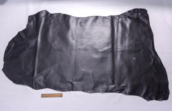 Кожподклад свиной (спилок) вощёный, чёрный, 86 дм2.-401071