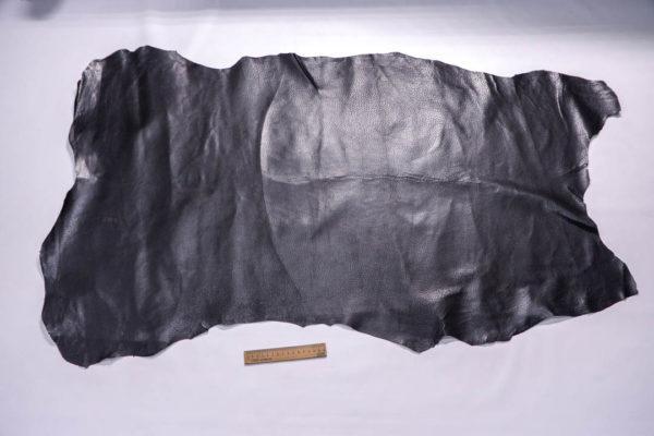 Кожподклад свиной (спилок) вощёный, чёрный, 77 дм2.-401073