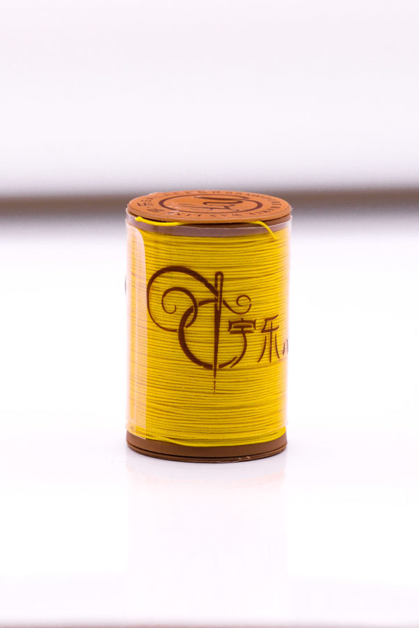 """Нить """"GALACES"""" вощеная круглая 0,55 мм. Волокно RAMIE. Желтая-m012"""
